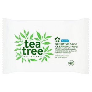 Tea tree and camomile extract sensitive face cleansing wipe by superdrug